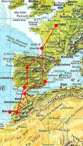 carte france espagne maroc - Photo